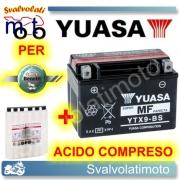 BATTERIA YUASA YTX9-BS 12V 8AH PER BENELLI VELVET TOURING 150 1999 > 2003 CON ACIDO