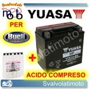 BATTERIA YUASA YTX14-BS 12V 12AH PER BUELL XB12X ULISSES 1200 2006 > 2010 CON ACIDO