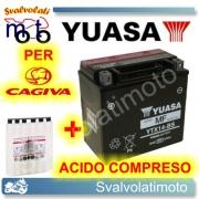 BATTERIA YUASA YTX14-BS 12V 12AH PER CAGIVA ELEFANT 750 1988 > 1994 CON ACIDO