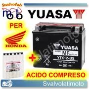 BATTERIA YUASA YTX12-BS 12V 10AH PER HONDA CB 1100 SF XELEVEN 1999 > 2001 CON ACIDO