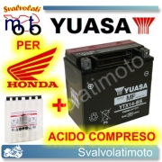 BATTERIA YUASA YTX14-BS 12V 12AH PER HONDA TRX 450 FOREMAN 1998 > 2001 CON ACIDO