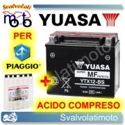 BATTERIA YUASA YTX12-BS 12V 10AH PER PIAGGIO HEXAGON 250 GT 1998 > 1999 CON ACIDO