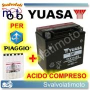 BATTERIA YUASA YTX14-BS 12V 12AH PER PIAGGIO BEVERLY 250 2007 > 2009 CON ACIDO