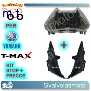 KIT STOP FUME+FRECCE BASE NERA LENTE TRASPARENTE 12V T-MAX 2008 2011