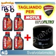 TAGLIANDO FILTRO OLIO + 4LT MOTUL 7100 10W40 DUCATI DS 1000 2004 > 2006
