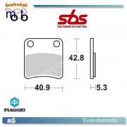 2 PASTIGLIE FRENO POSTERIORI SBS 209 HF PIAGGIO MP3 300 (PARKING BRAKE) DAL 2010 IN POI