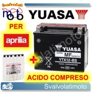 BATTERIA YUASA YTX12-BS 12V 10AH PER APRILIA SPORTCITY CUBE 125 2008 > 2011 CON ACIDO