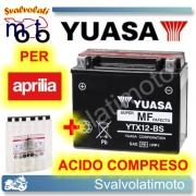 BATTERIA YUASA YTX12-BS 12V 10AH PER APRILIA SPORTCITY CUBE 300 2008 > 2011 CON ACIDO