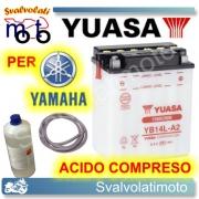 BATTERIA YUASA YB14L-A2 12V 14AH PER YAMAHA XJ 700 MAXIM 1985 > 1987 CON ACIDO